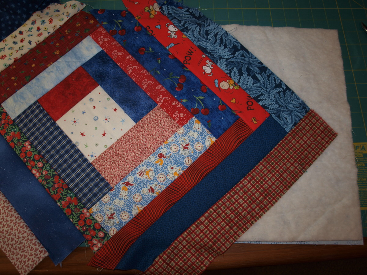 Continue adding strips.  Note the overhang along the edges.  That will be trimmed away once sewing is finished.