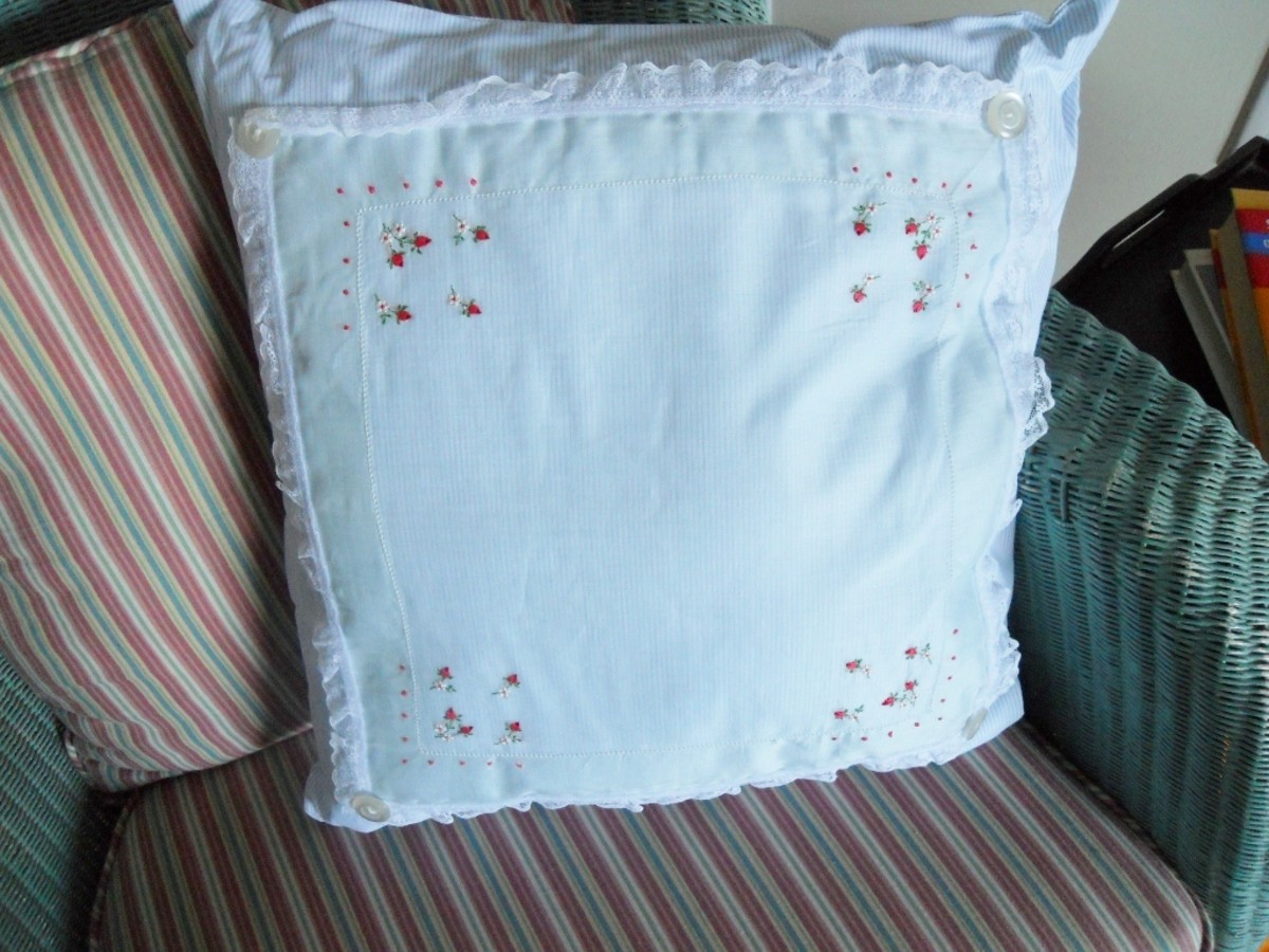 Vintage Handkerchief Throw Pillow