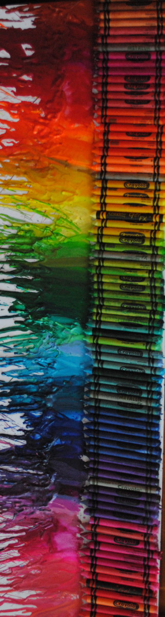 This crayon painting is turned sideways, but your finished work may look similar.