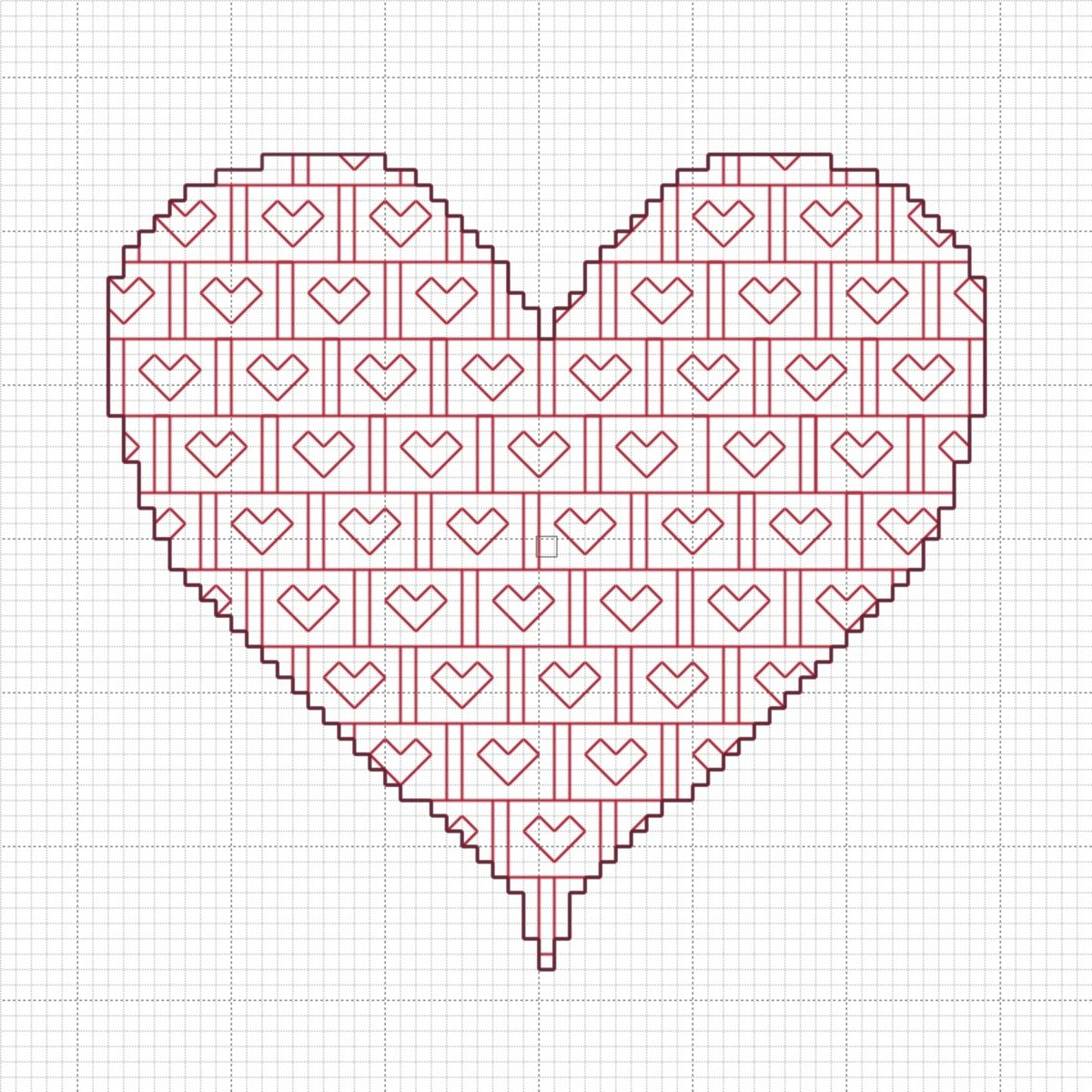 Blackwork Valentine's Heart Chart