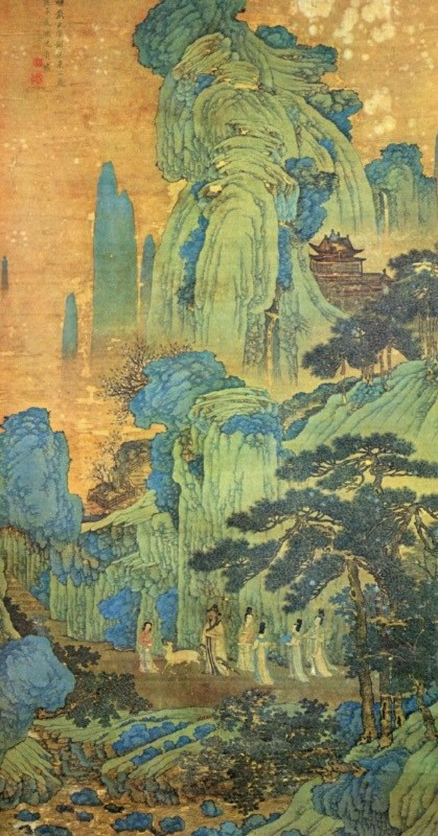 A blue-green shanshui painting by Ming artist Shen Zhou (1427-1509).