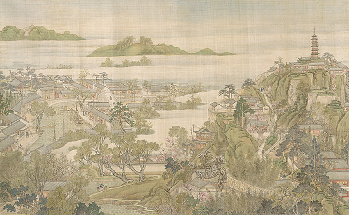 """""""Entering Suzhou and the Grand Canal"""" by Qing era court painter Xu Yang (active 1750-1776). This is the sixth scroll from the series and shows the Western influence on Chinese painting of the time."""