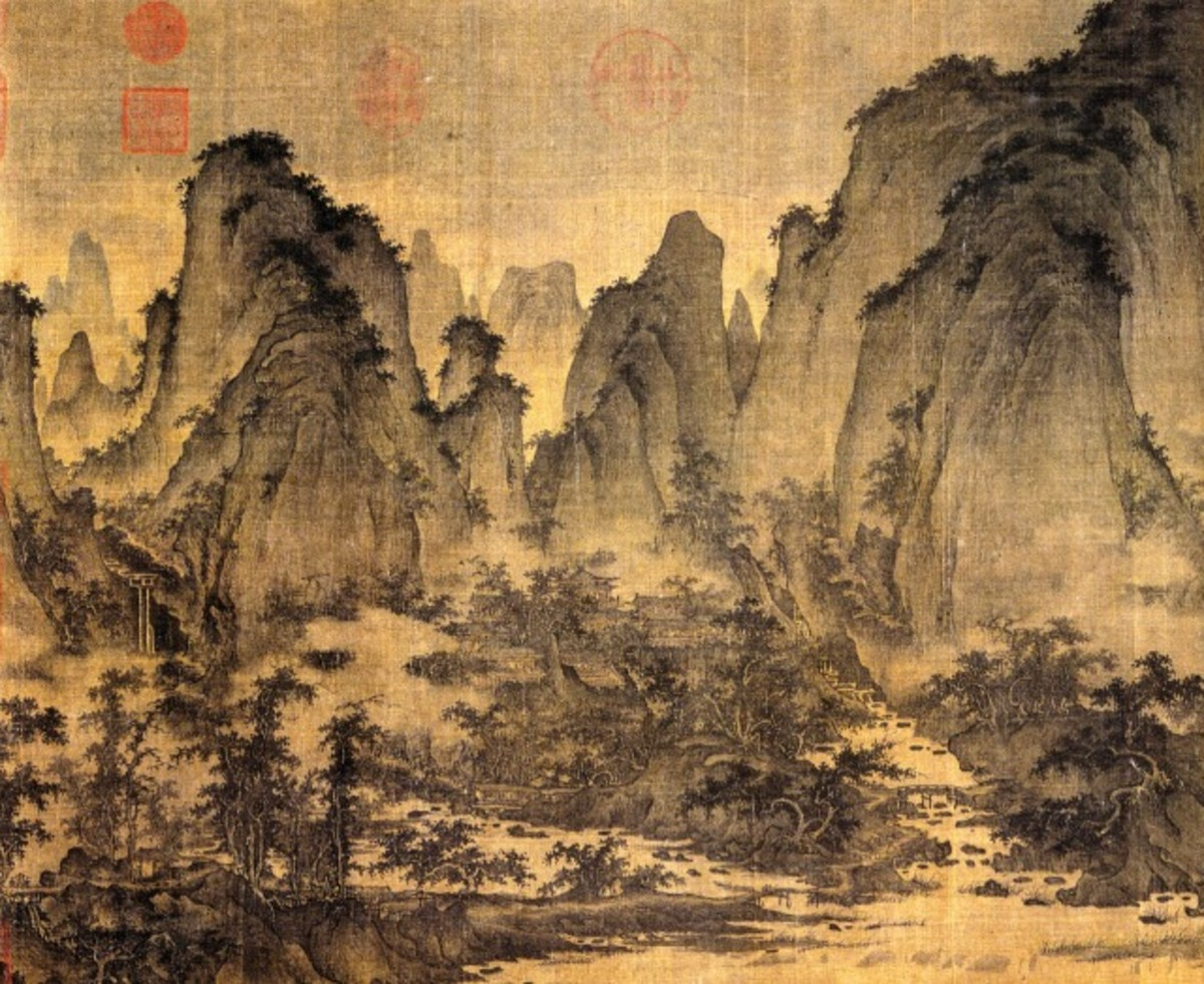 """""""Summer Mountains"""" by Northern Song painter Qu Ding (active approx. 1023-1056 CE). This is one of the most famous of all Chinese landscape paintings."""