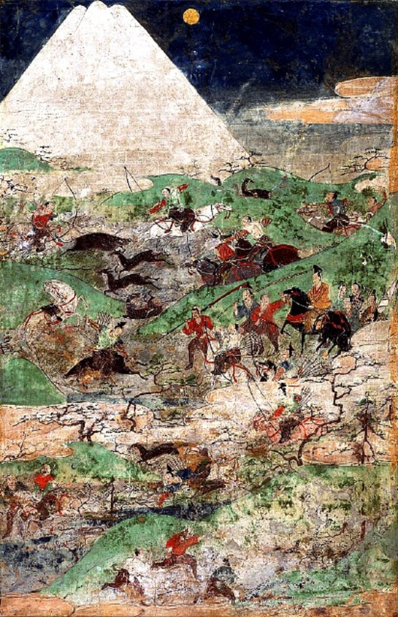A painting by an unknown Japanese painter that uses the all the basic elements of a sansui painting - with a twist. It features a bloody battle being fought on the landscape at the base of the mountain, which is in the foreground!
