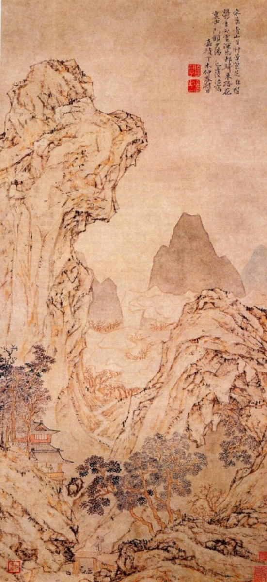 """In the Mountains to Collect Herbs"" by Ming painter Lu Zhi (1409-1576). Note the tiny man and pathways in the midst of the massive, foreboding mountainous landscape with its detailed features."