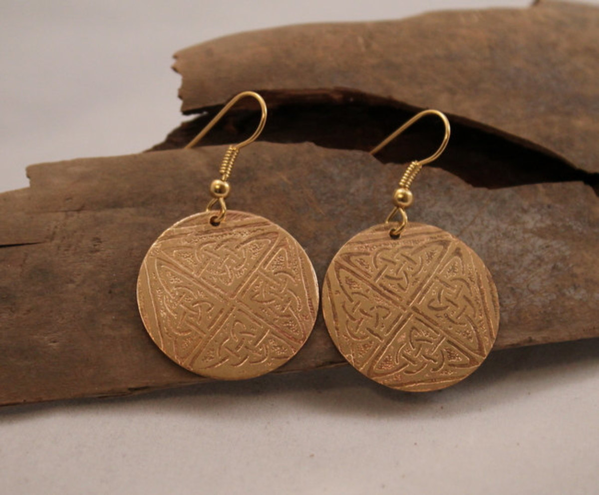 Etched brass earrings.