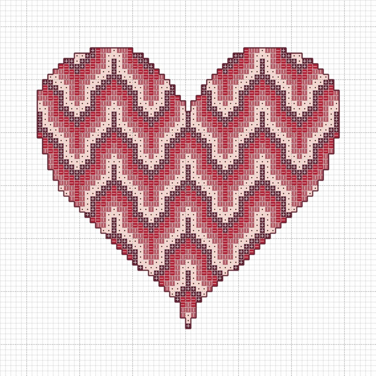 Bargello heart cross stitch chart