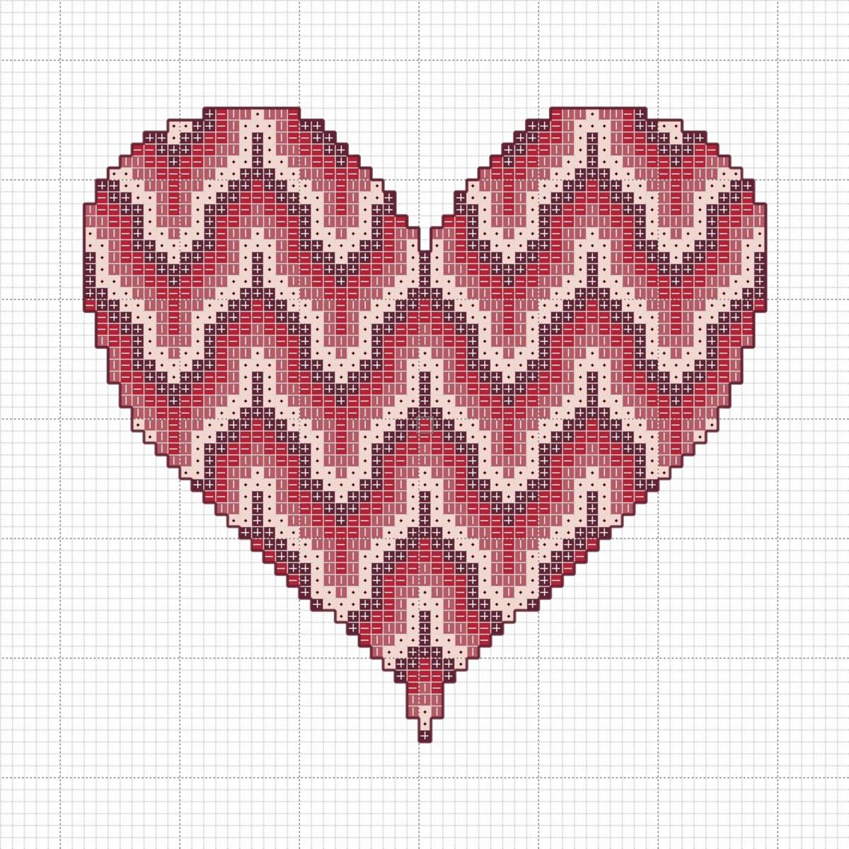 Bargello Heart Cross-Stitch Chart
