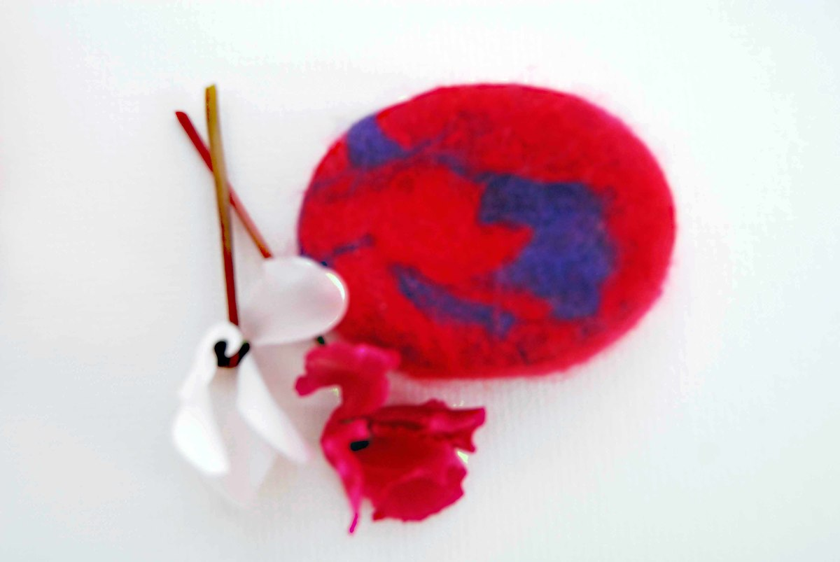 Completed wet-felted soap