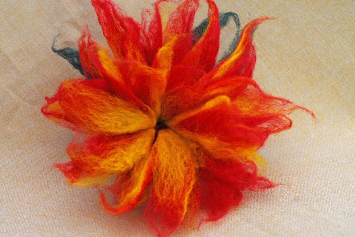 Wet Felted 3D Felt Flower