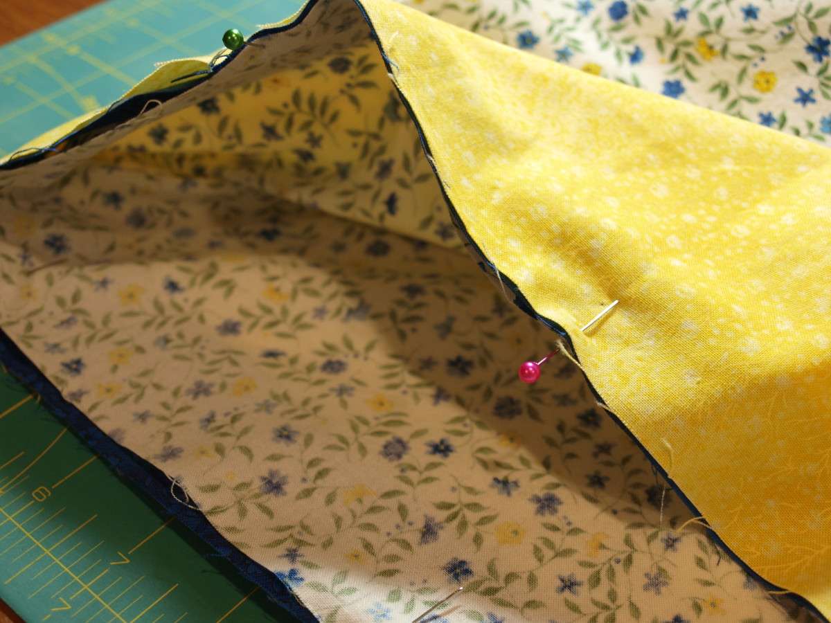 3. Pin the border around the outside of the large part of the pillowcase.  Match the seams.