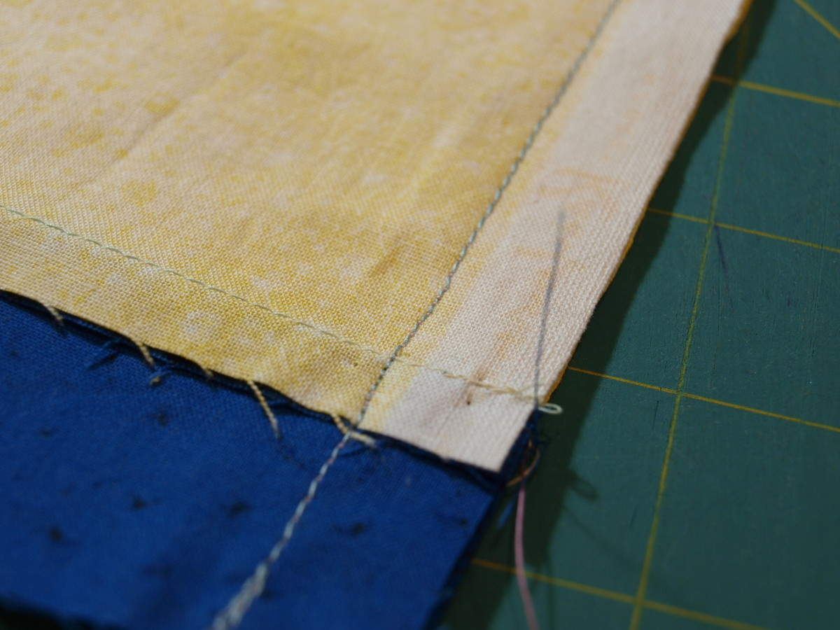 "2. Use a 1/2"" seam and backstitch at the beginning and end.  Sew along the short end."