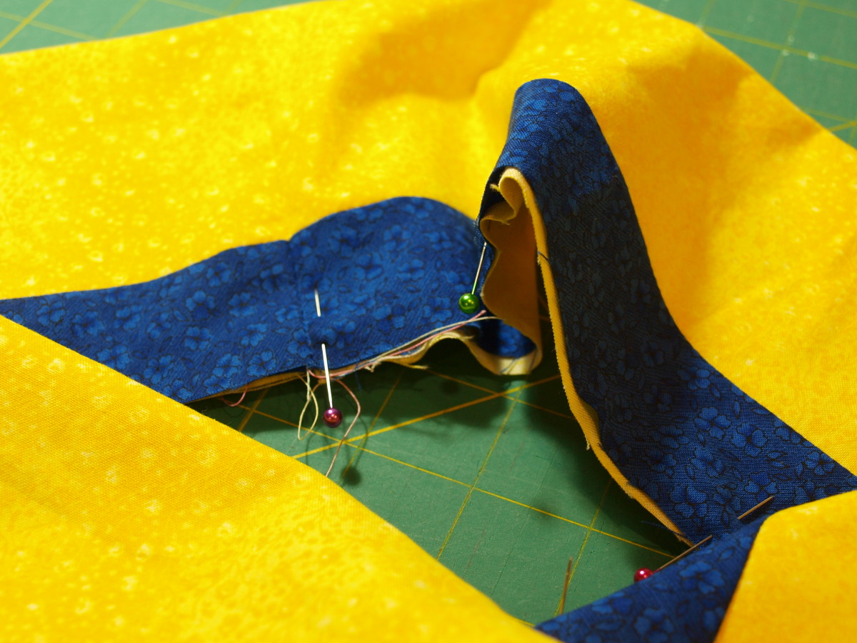 1. Fold the border in half and pin, with right side of fabric out.