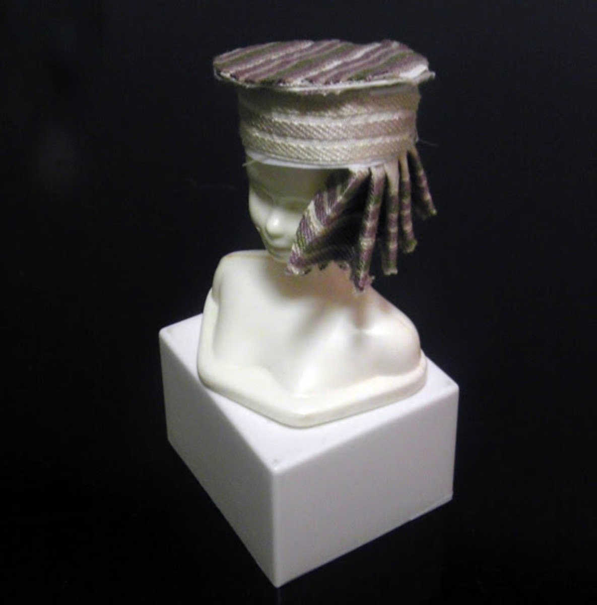 Upholstered K-cup Barbie hat will side ruffle