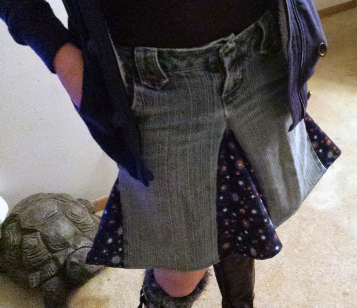 The fun, flippy skirt I made with my old jeans.