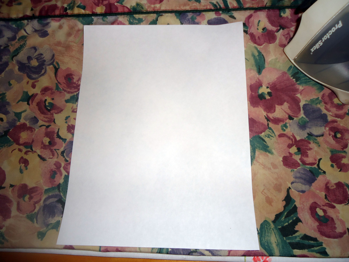 8.5 x 11 inch piece of freezer paper