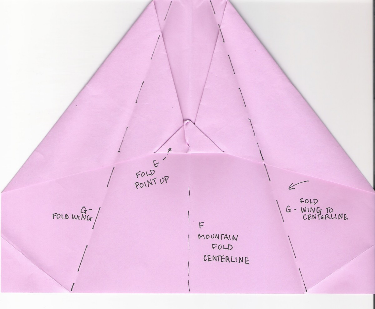 F. Mountain fold centerline G. Fold wings to centerline