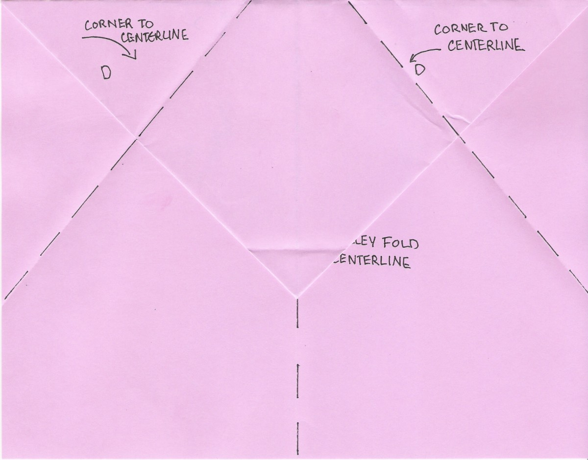 D. Fold corners to centerline