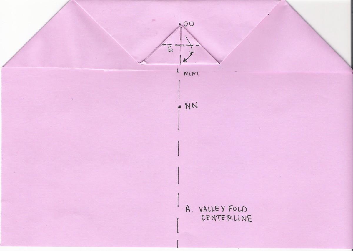 E. Fold point to centerline F. Refold along centerline (A)