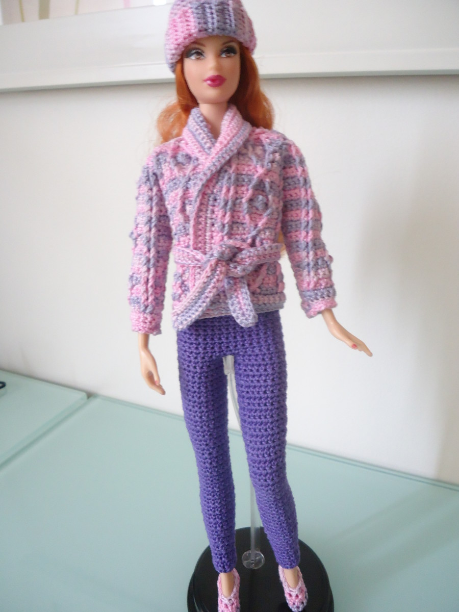 """Her Aran Sweater"" from Leisure Arts Crocheted Fashion Doll Clothes, Book 2; Barbie Basic Leggings, and Barbie Ballet Flats."