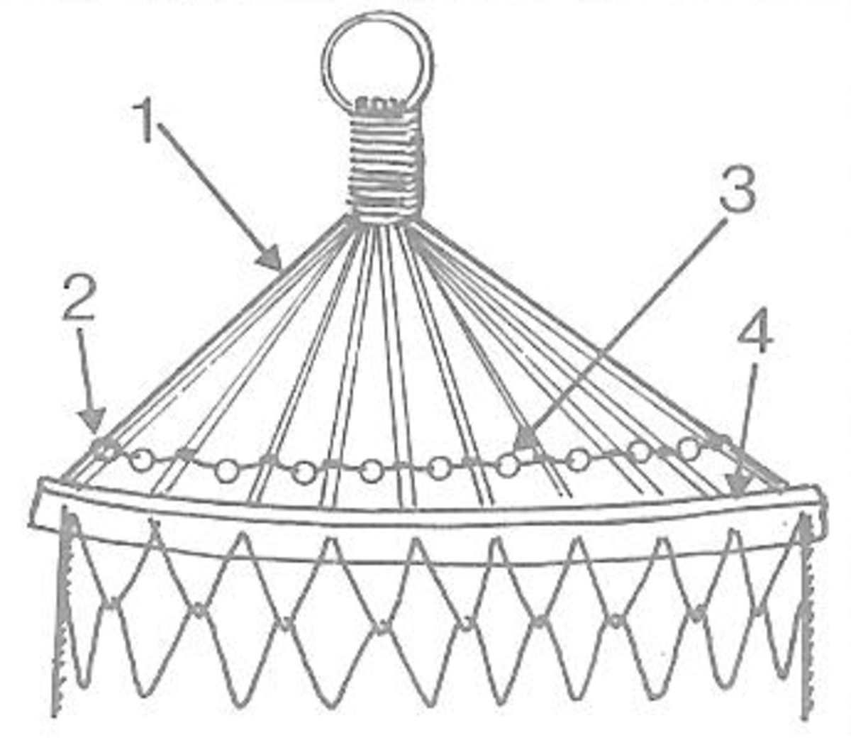 Figure 9 - #1 Shows Supporting Strings; #2 Marling Knot; #3 Bead; #4 Wooden Bar