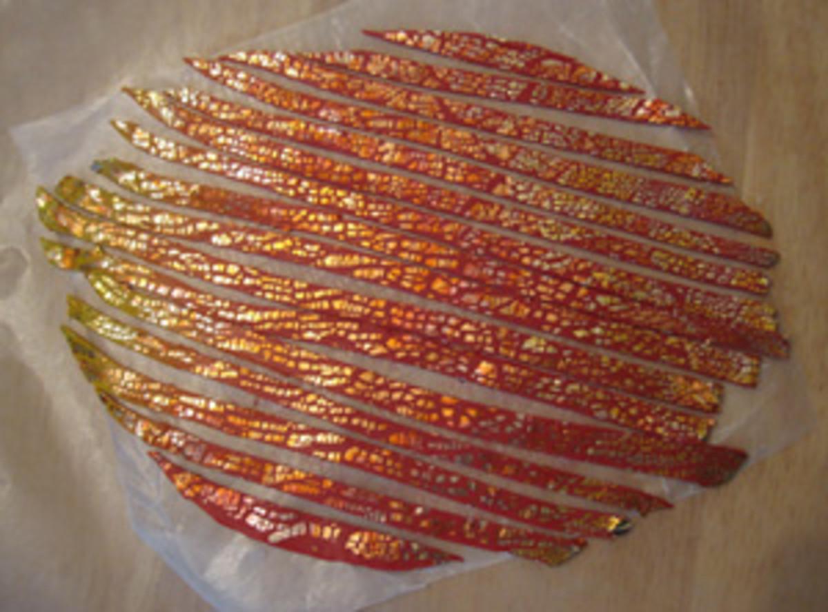 Crackled metal leaf-covered polymer clay strips