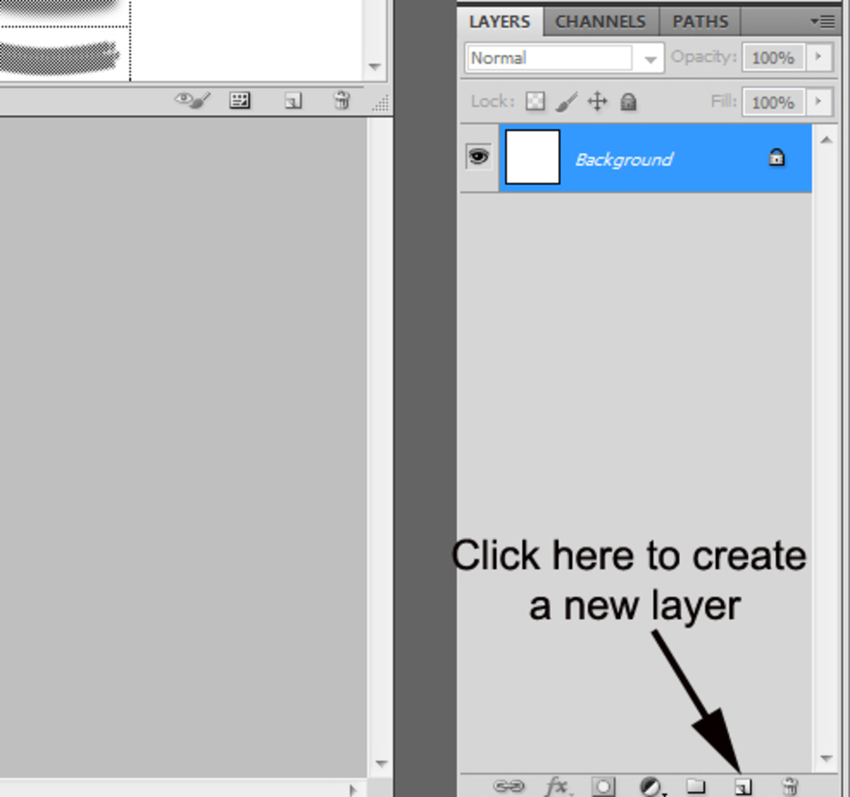 2. Create a new layer by clicking this button in the bottom right corner of the program