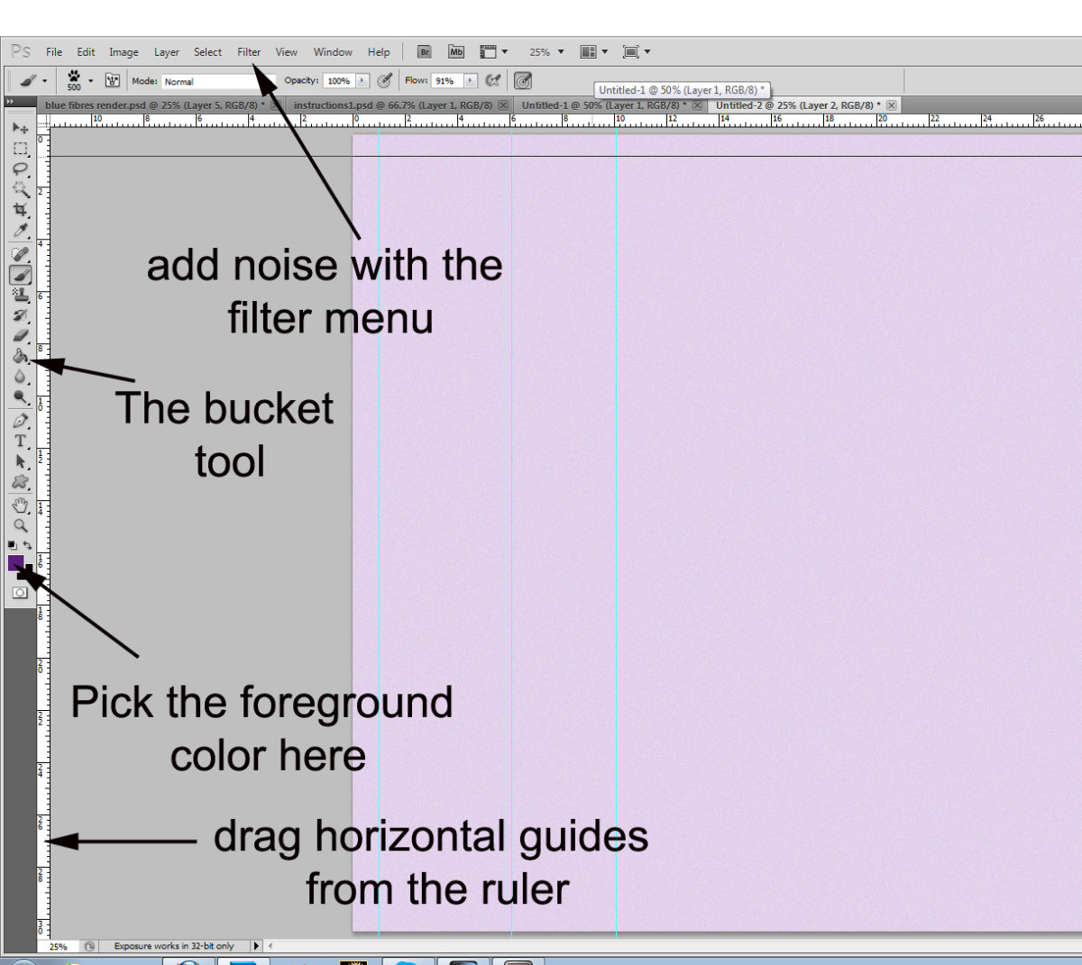 Steps 2 & 3: fill your image with color, add some noise (optional) and start adding guides.