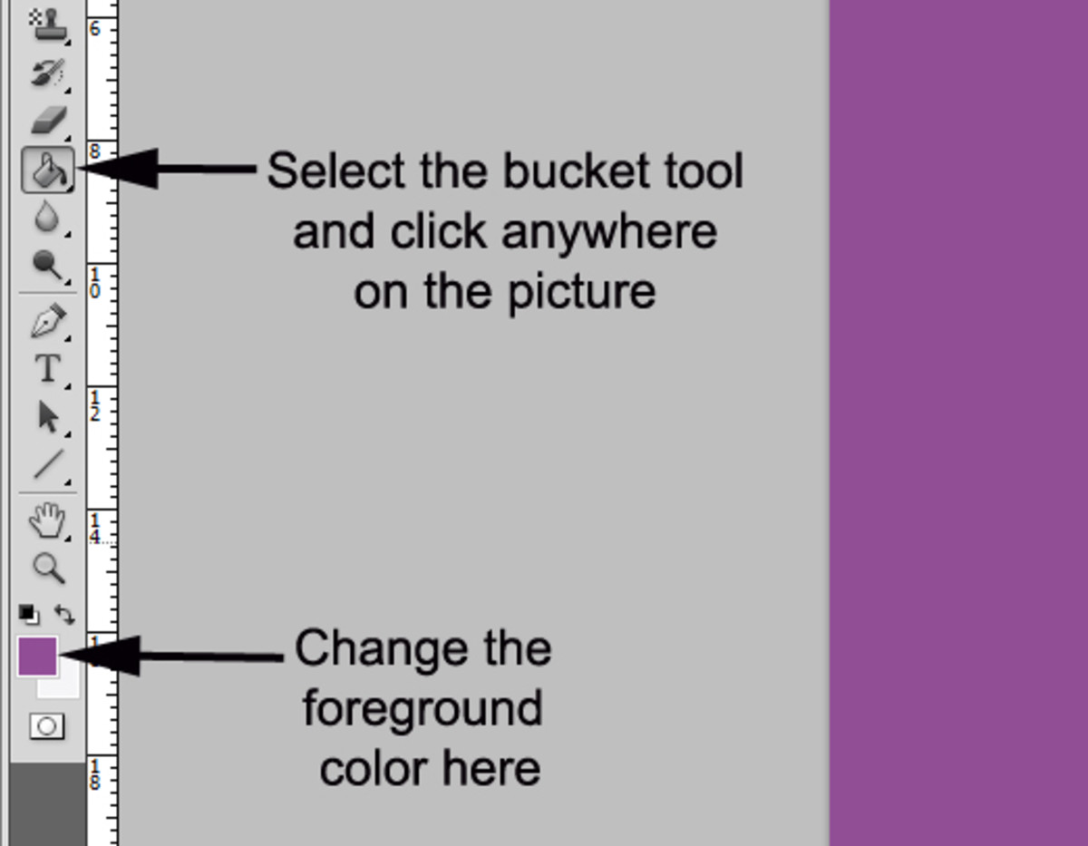 3. Pick a foreground color and use it to fill your canvas with the paint bucket tool .