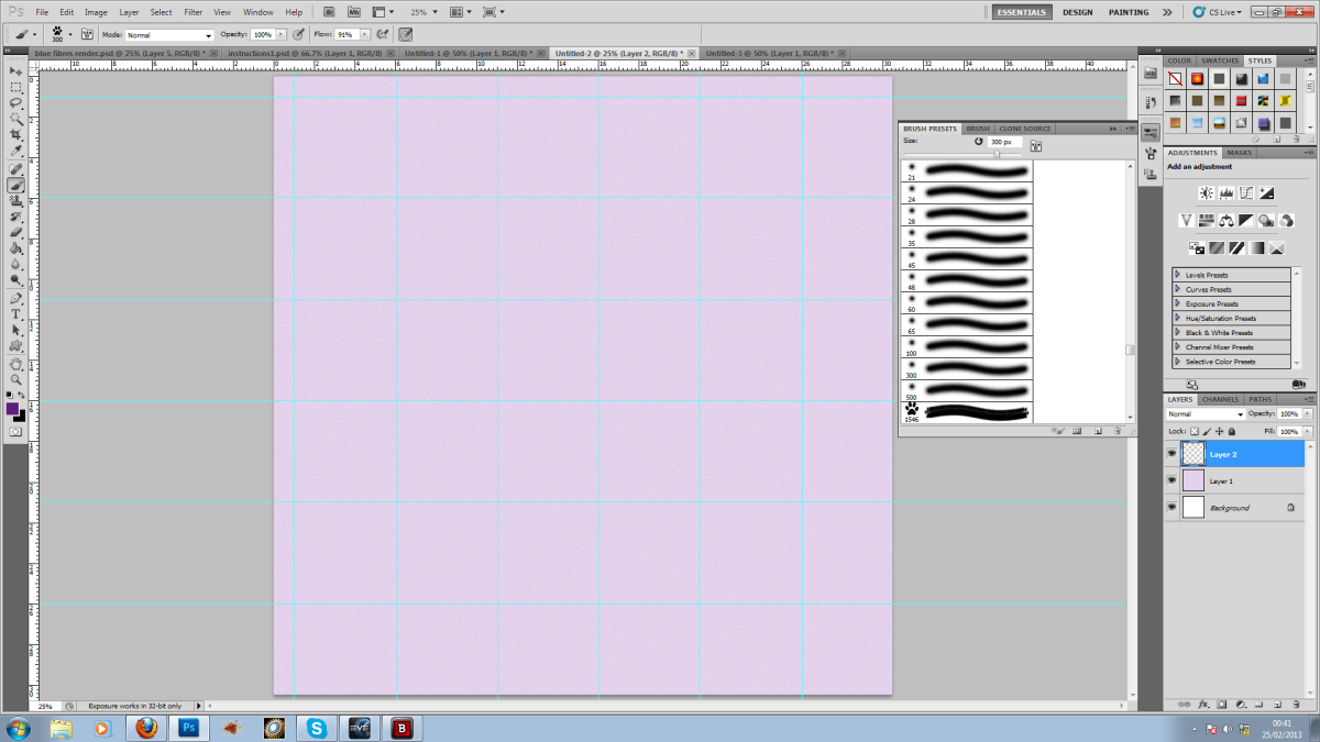 Step 4: Build a grid of guides so you can add your pattern in straight lines.
