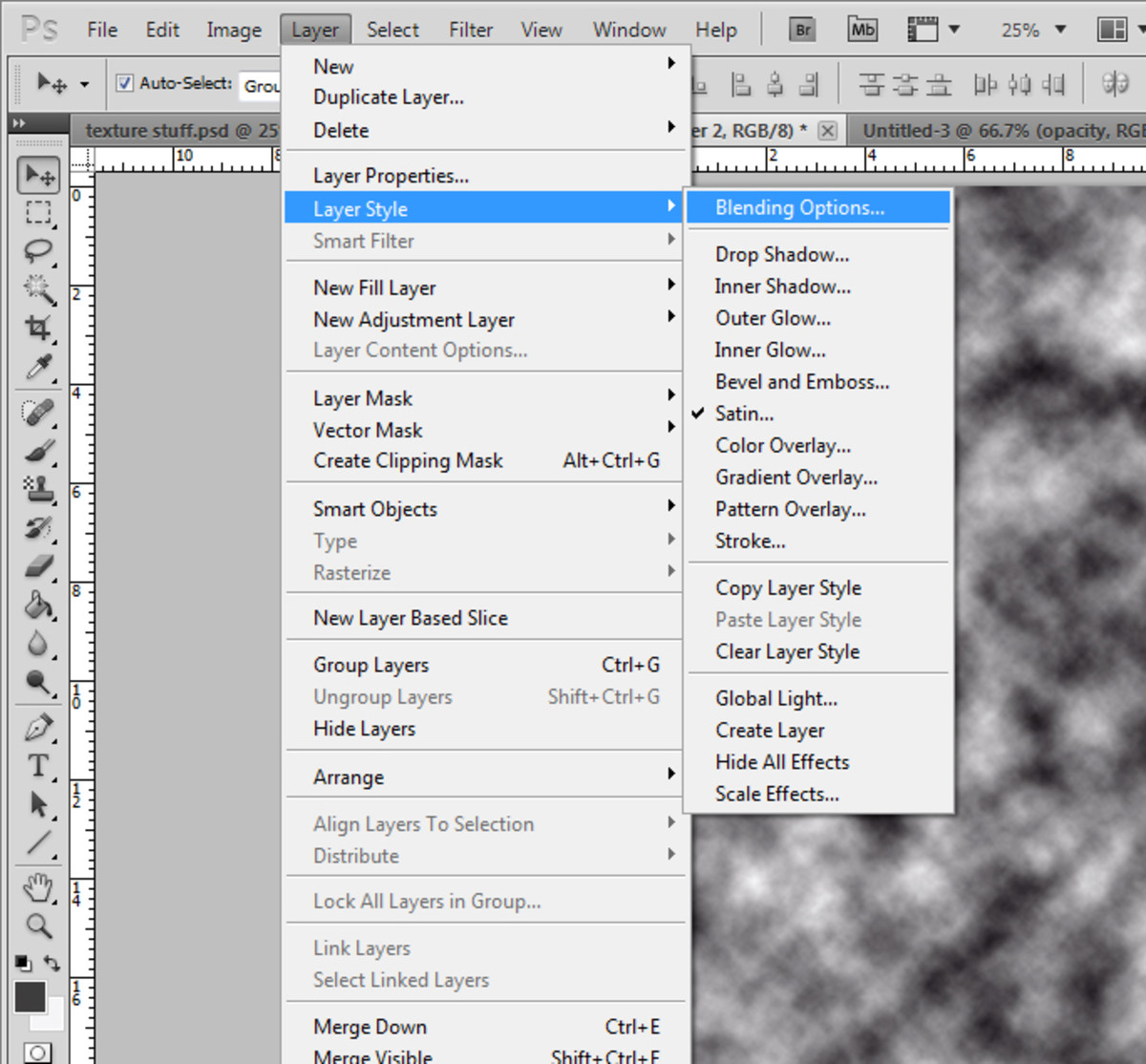 5. Access the blending options from layer-- layer style of the main menu