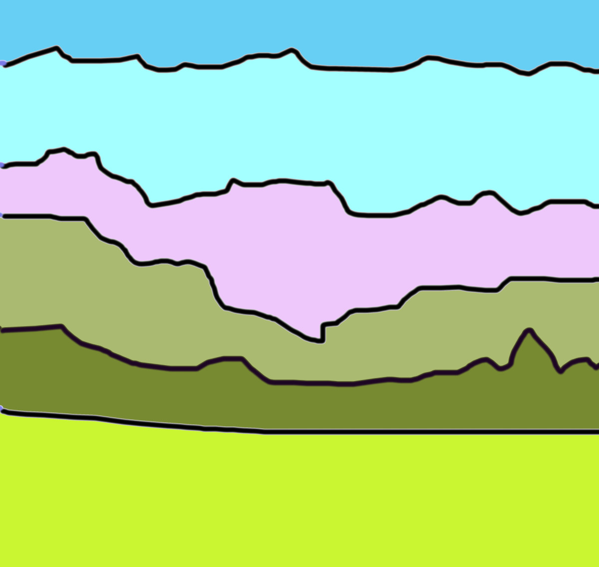 Color the horizontal areas according to a generic landscape scene, with grass, trees, mountains, and skies, and it becomes even more clear for the viewer.