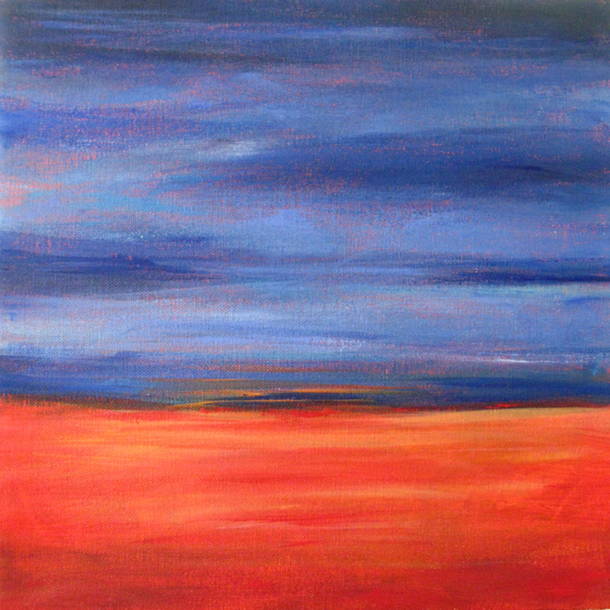 Abstract landscape -For the ground, I used Burnt Sienna, Raw Sienna, Hansa Yellow Light, Naphthol Red Medium, and Titanium White. For the sky, I used Ultramarine Blue, Cerulean Blue, and Titanium White.