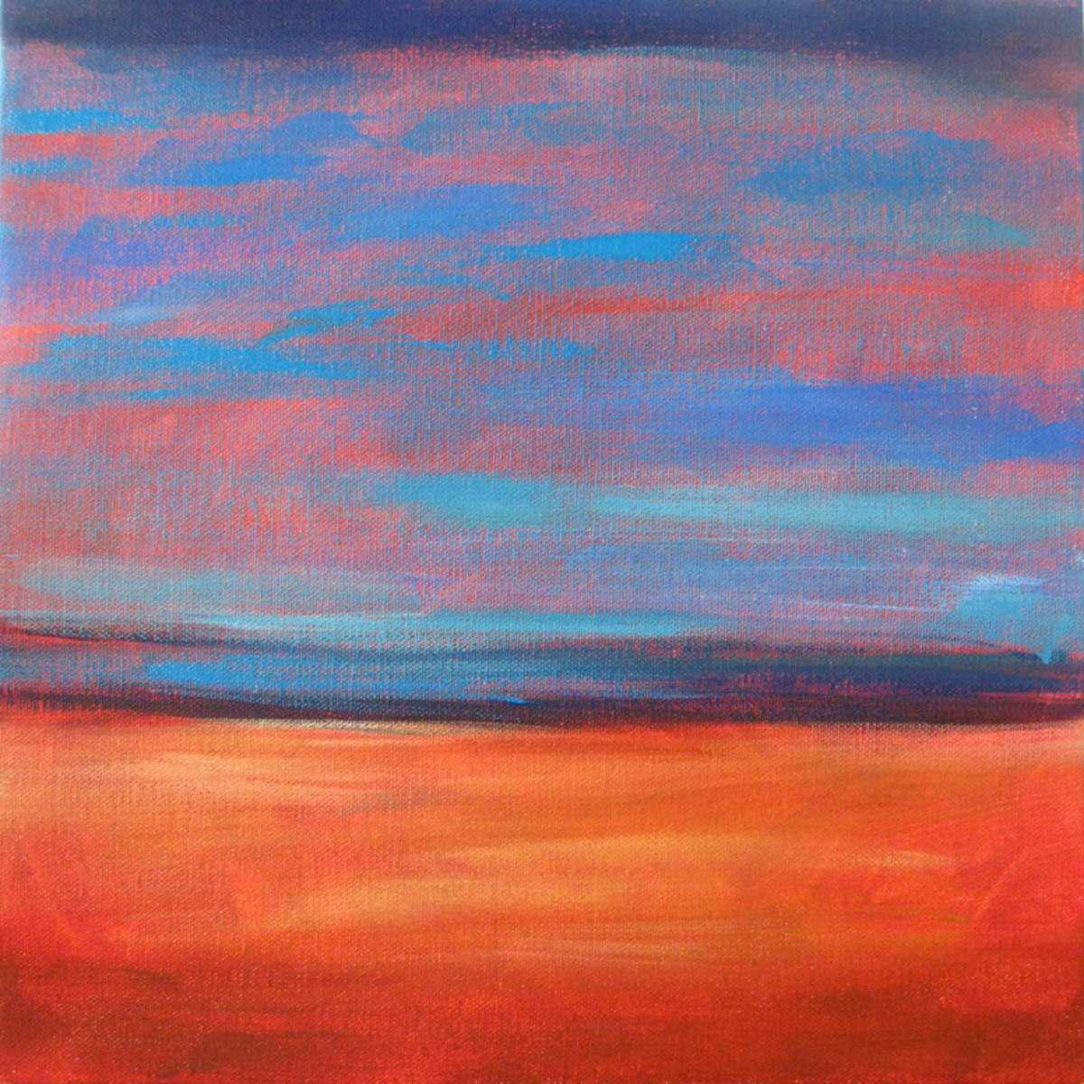"Paint the horizon line at the 1/3 line, and paint ""ground"" and ""sky"" using complementary colors in the families of blue and orange."