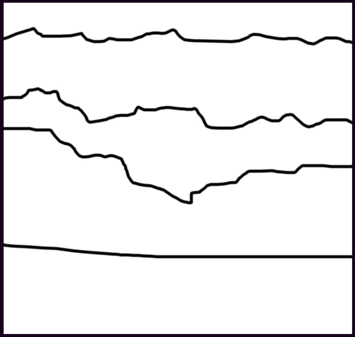 Divide the plane into horizontal lines and our brain will read it as a landscape. Click on the next thumbnail to see it colored.