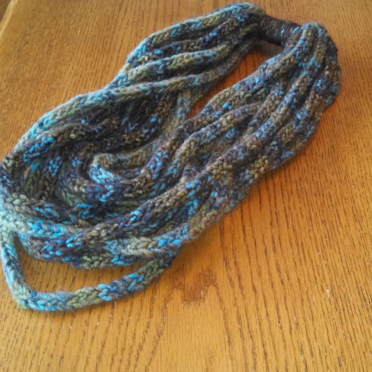 Another spool knit infinity scarf made with vareigated wool. This one made a beautiful Christmas gift!