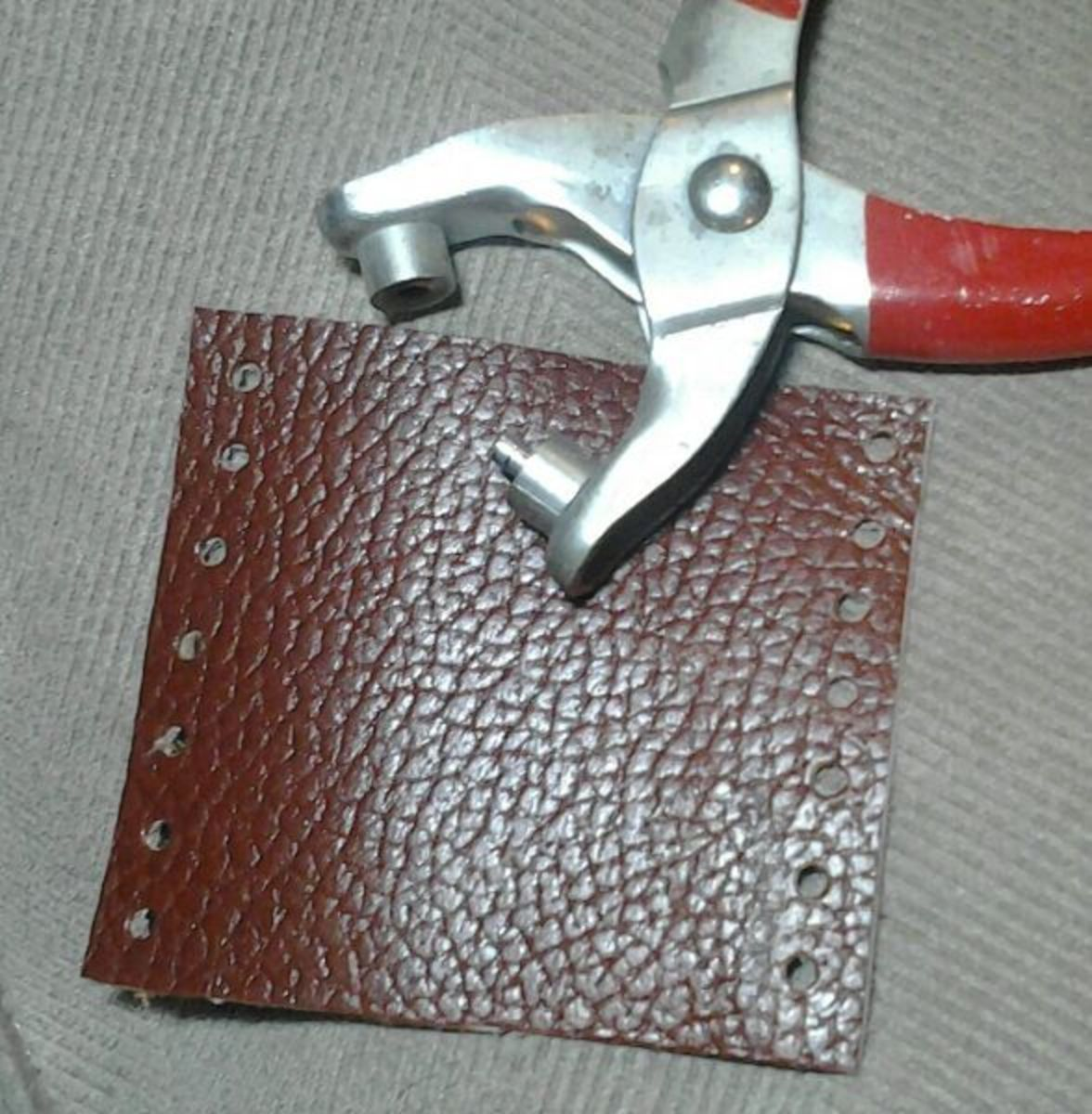 Cut your leather and punch the needed holes. I used 7, but do what makes sense for your project.