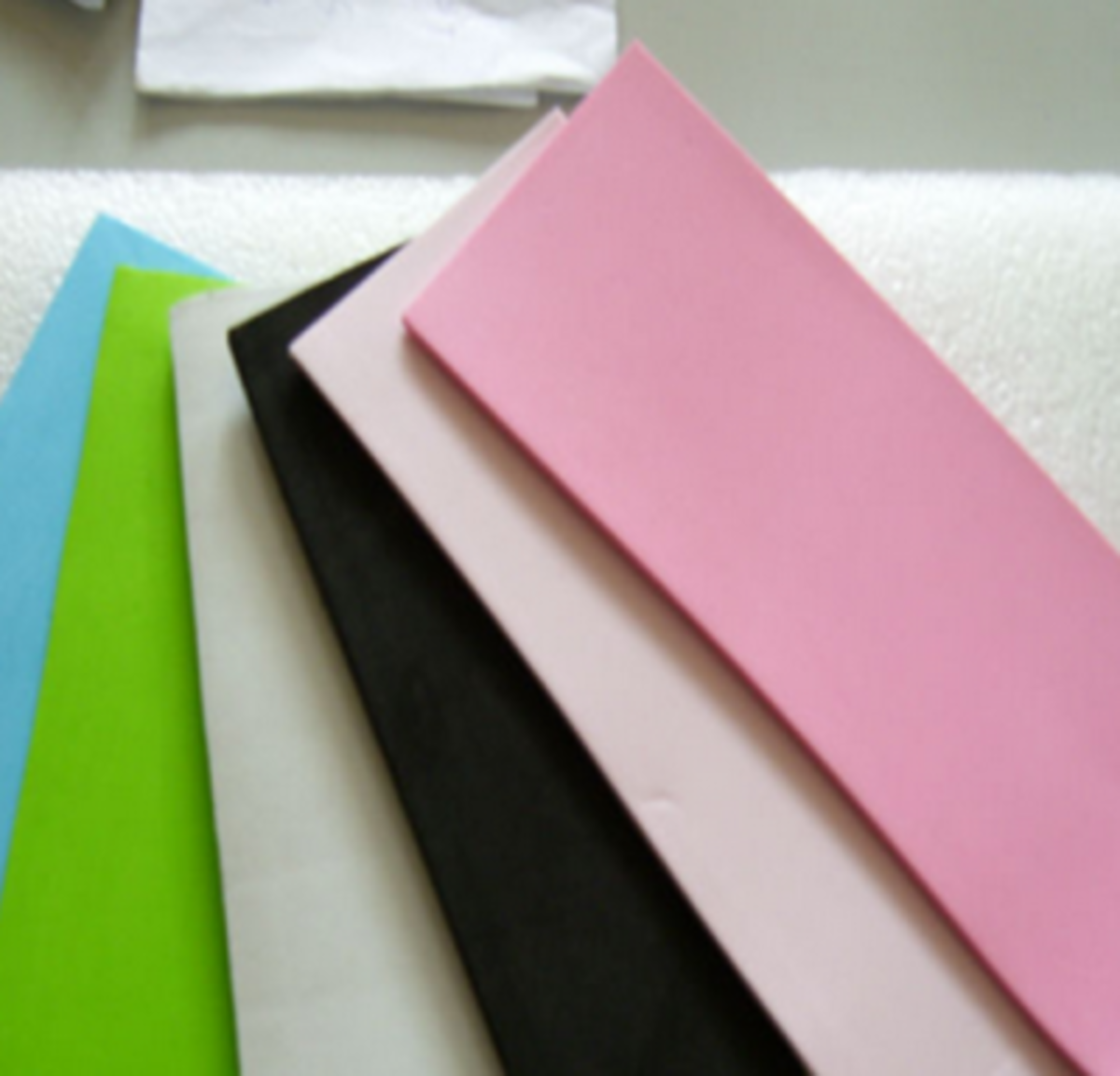Different colors of foam sheets.