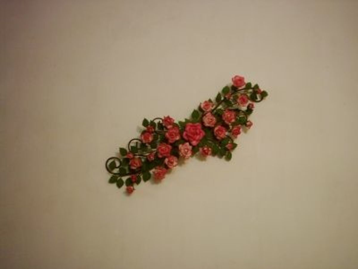 A bunch of roses as wall decor.