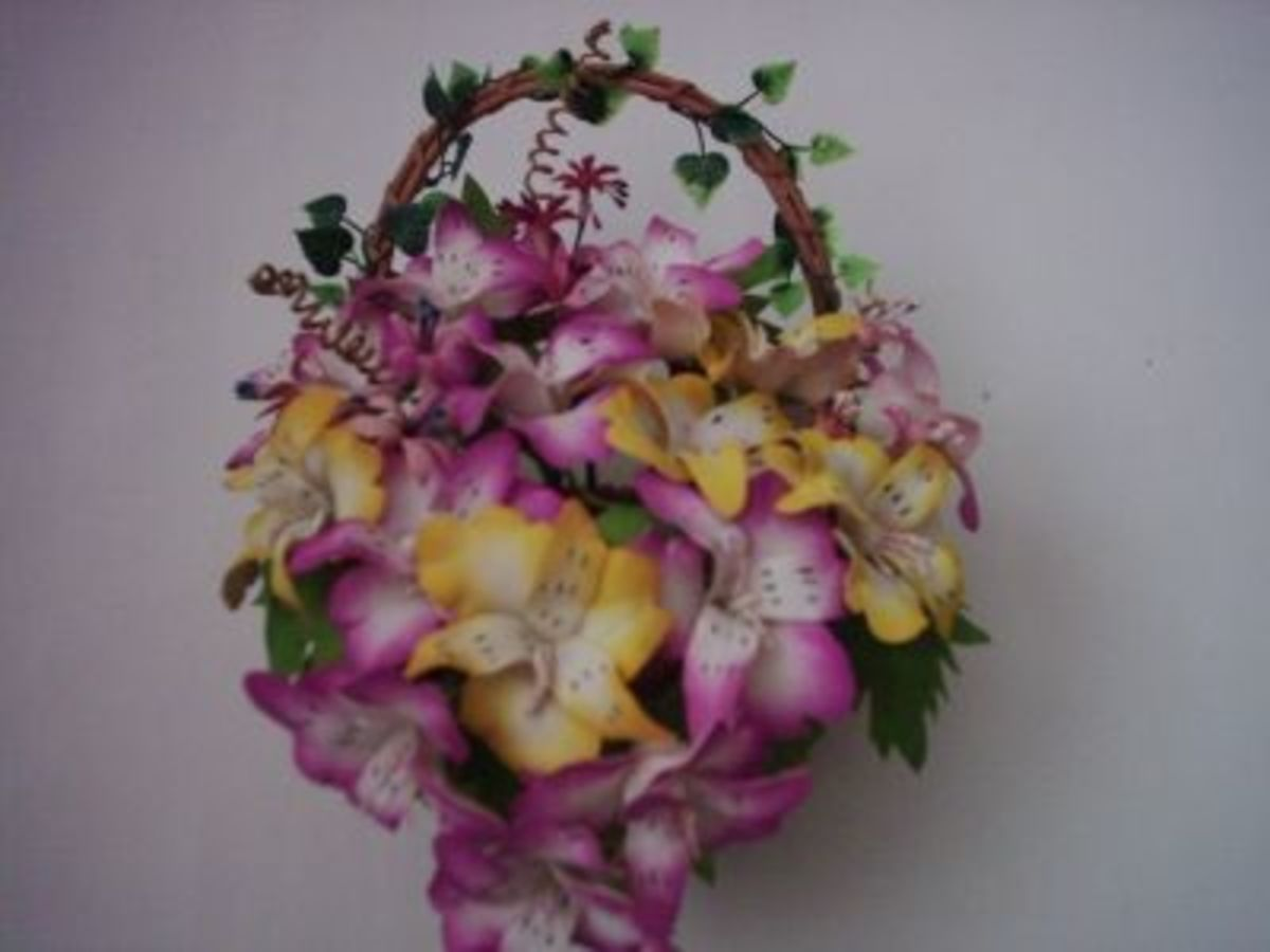 Basket of flowers made of foam.
