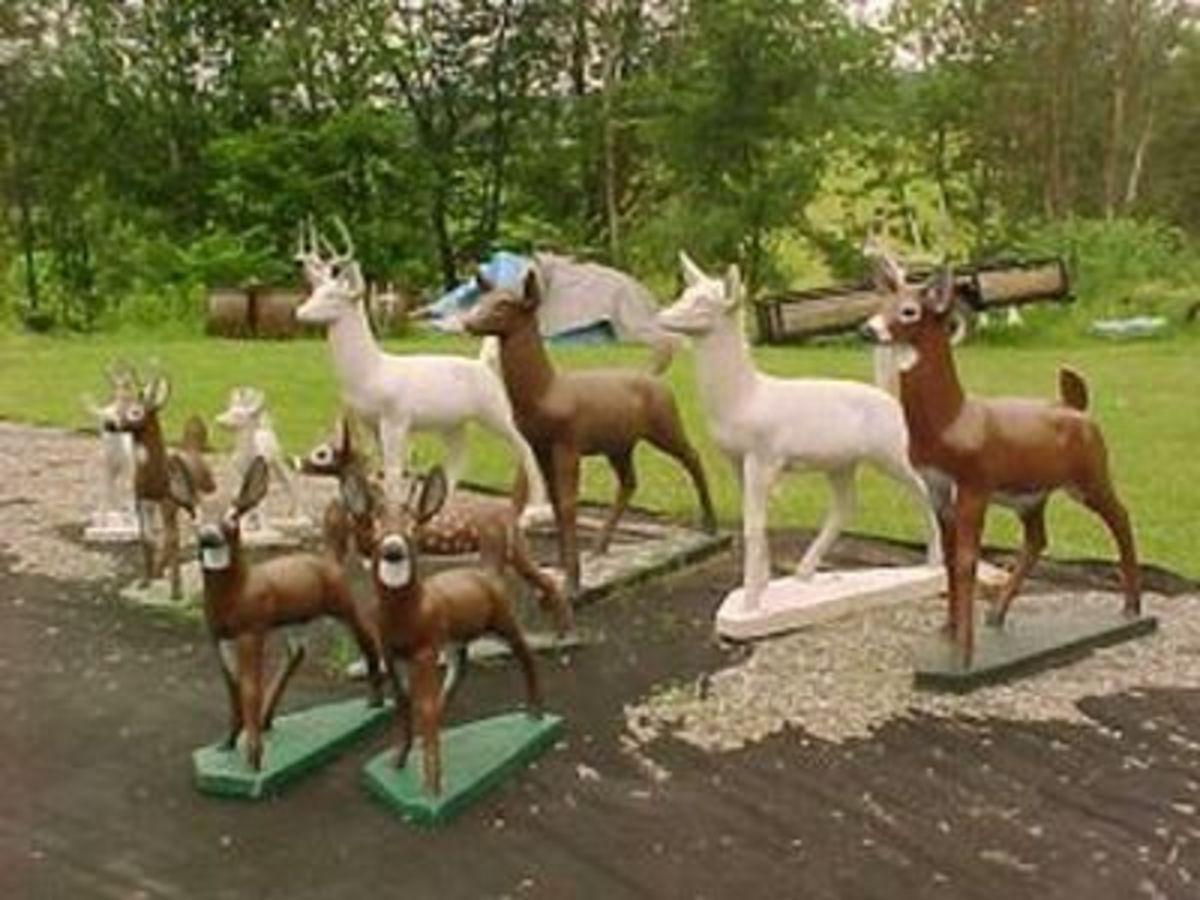 Deer ornaments, both painted and natural