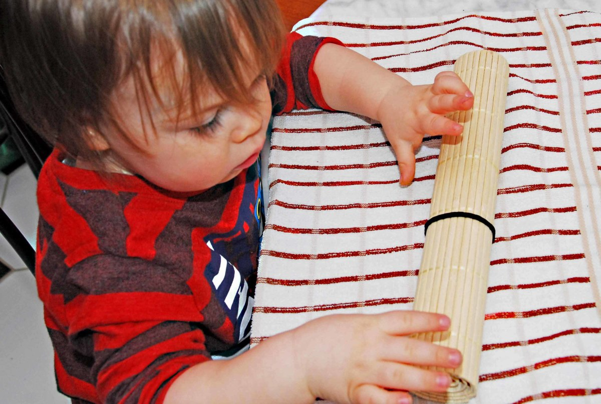 My little Helper rolls the Bamboo Mat for me.