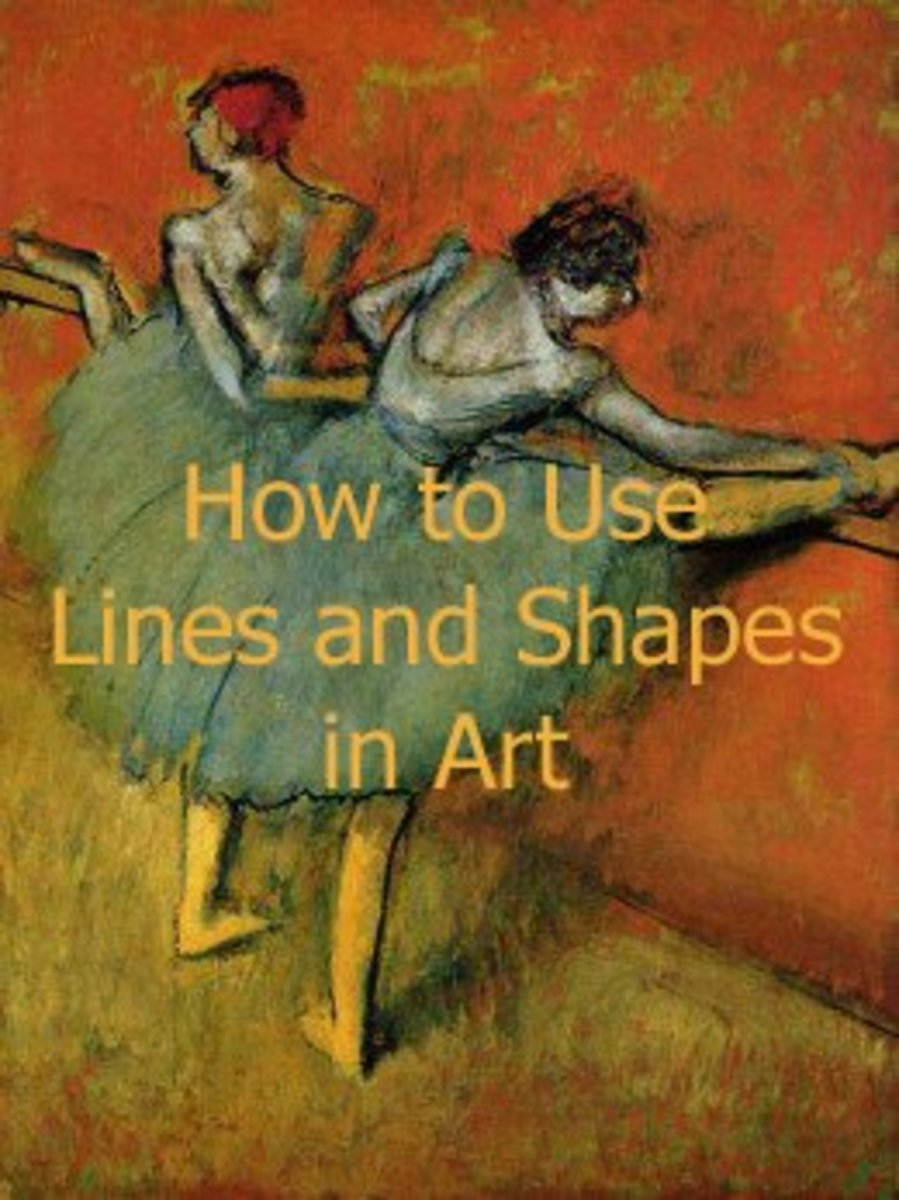 Amazing use of shape and lines by Edgar Degas (1838-1917) successfully keeps the focal point on the ballerina and keeps the eyes of the viewer moving around the picture