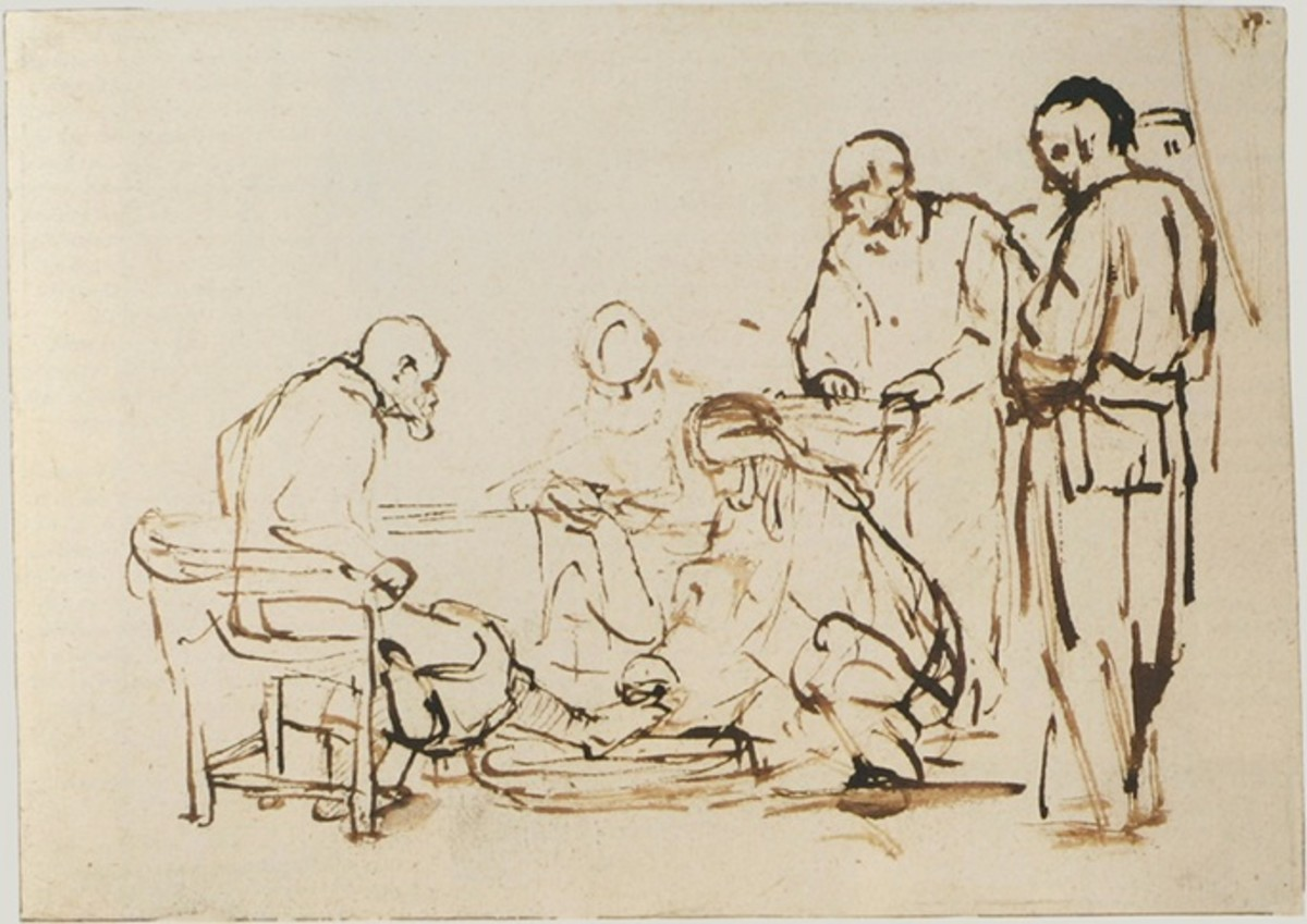 Great use of diagonals in the action of The Washing of the Feet, while the horizontal and vertical elements convey calm and thoughtfulness.Rembrandt 1640-1649, pen and brown ink on paper.