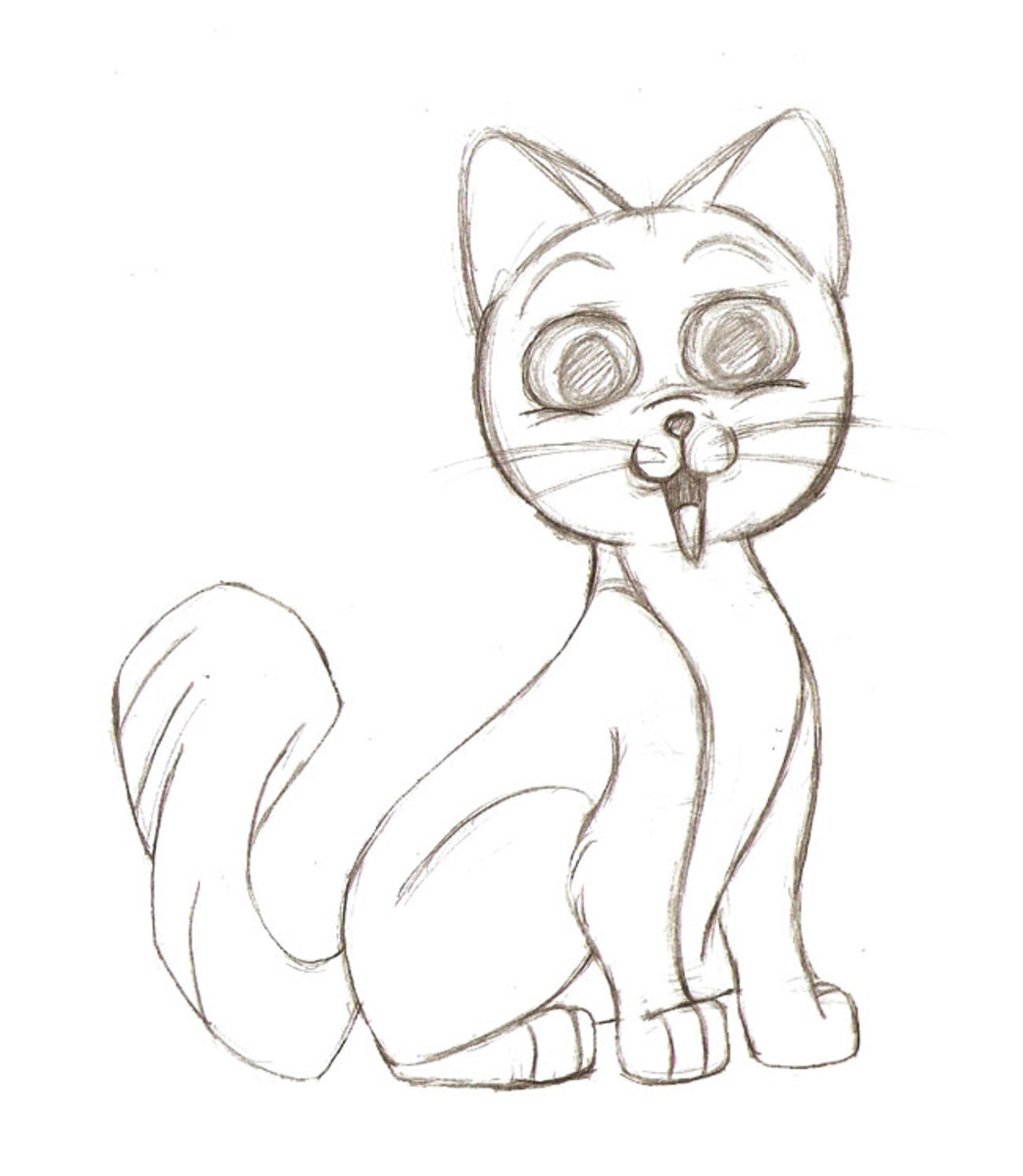 Drawing A Cartoon Cat Feltmagnet Crafts