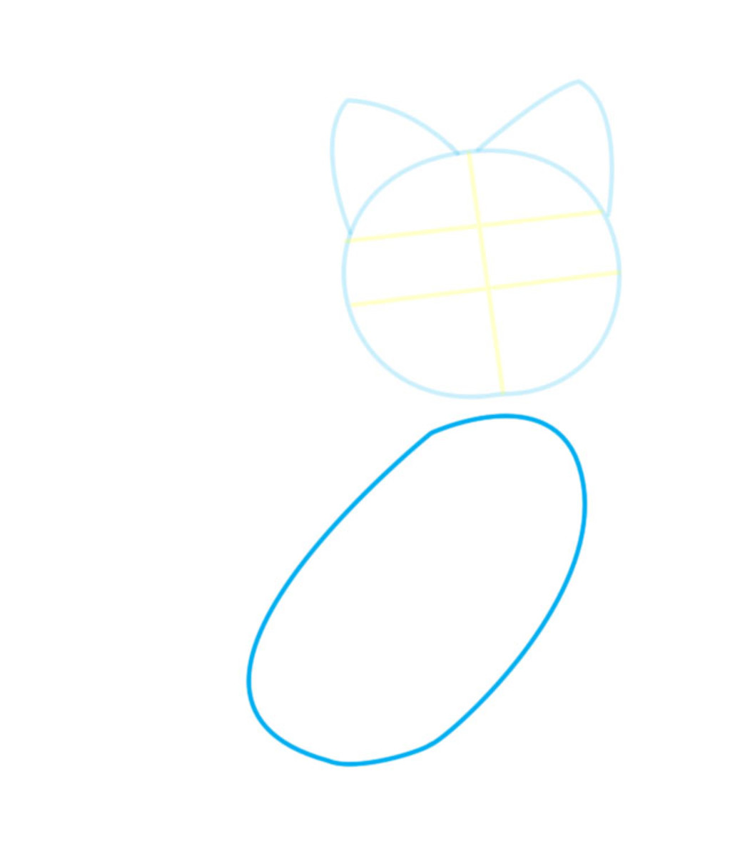 Draw the body just below the head. The two shapes should not meet or overlap.