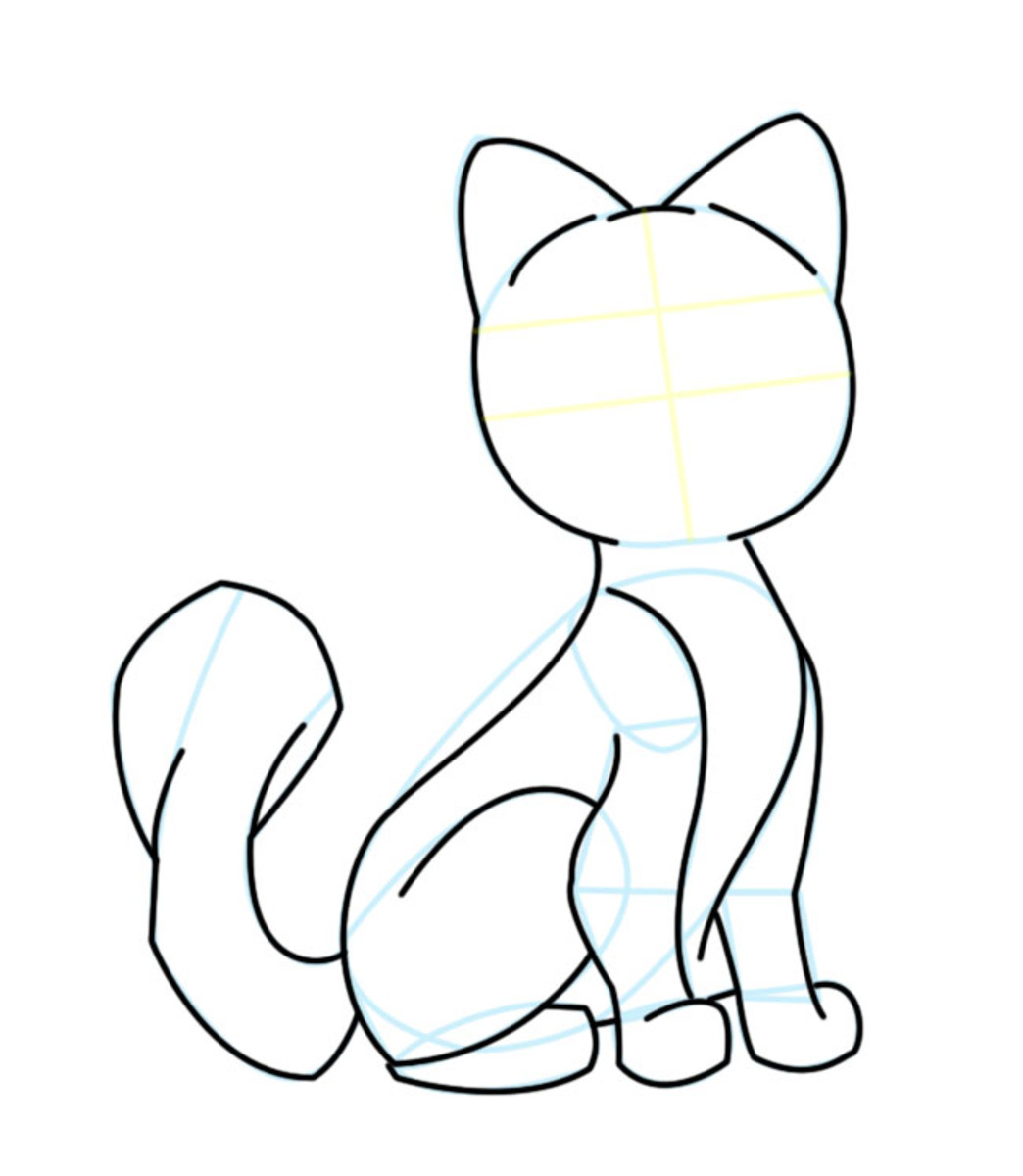 Darken your sketch lines, and bring out the cat's form. Erase all other unnecessary lines and shapes.