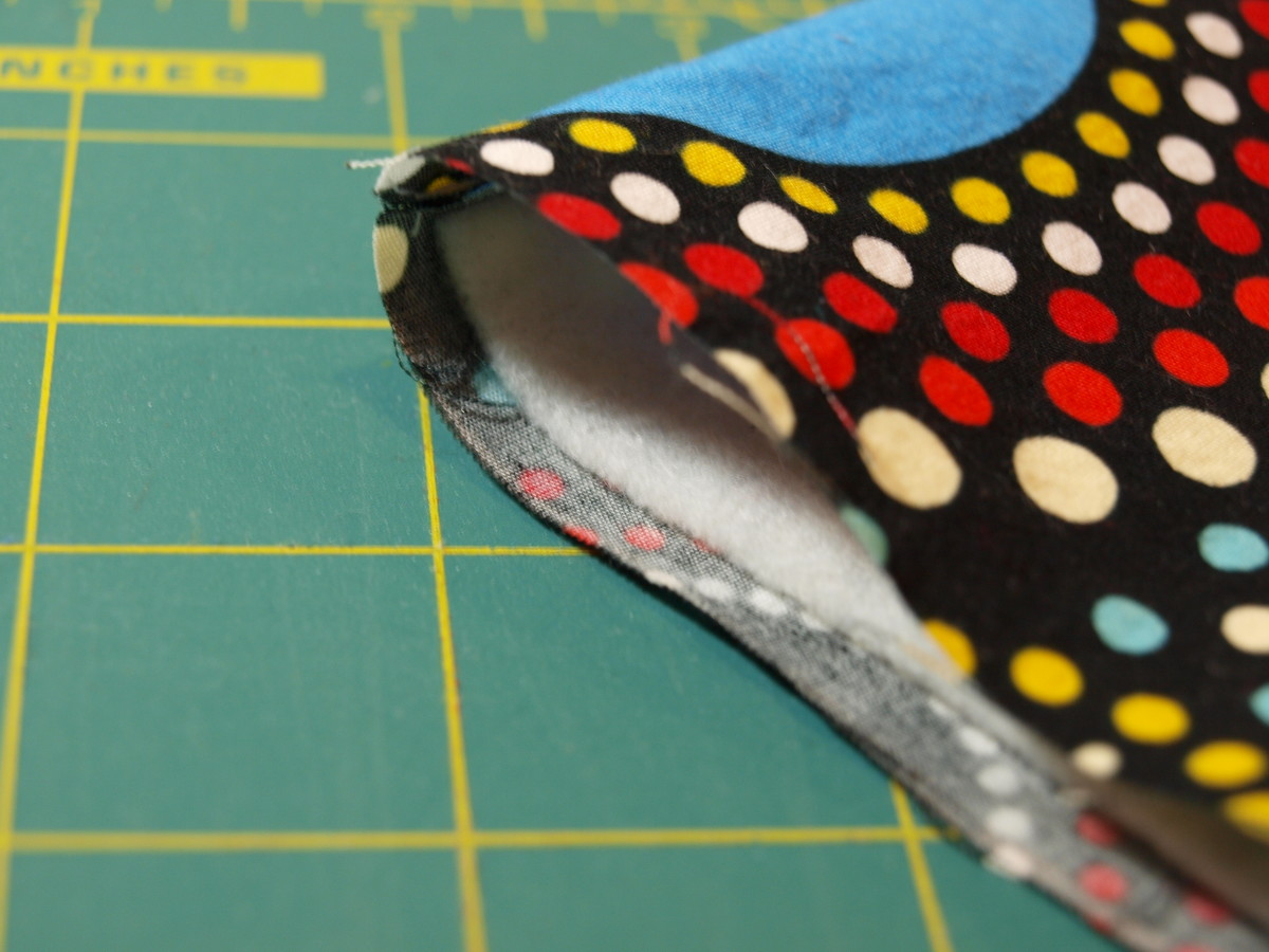Step Five: Flip the fabric inside out with the batting.