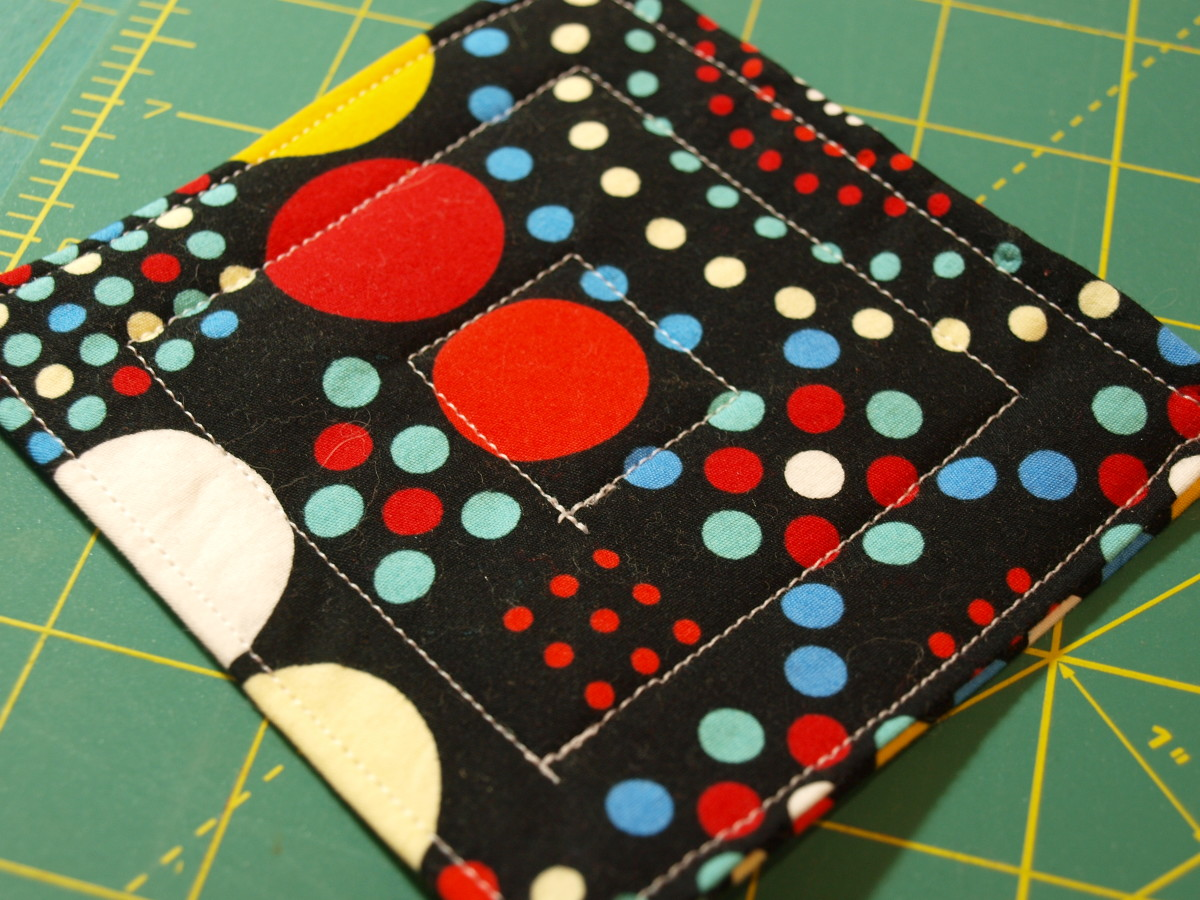 Step Eight: Quilt the coaster in a pattern of your choice.