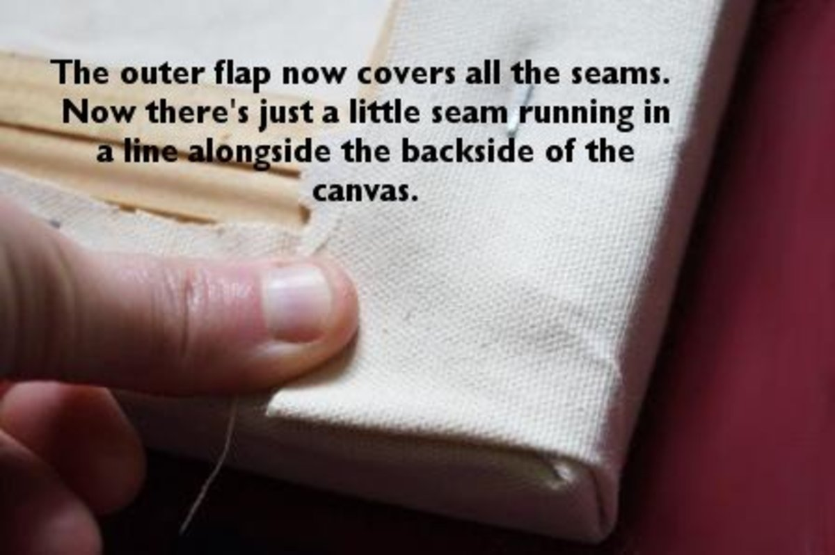 The outer flap now nicely covers the inner pleat.  Staple into place and do this for all four corners.